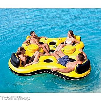 tradeshoptraesio® - Isla flotador Sillón Juegos Playa Piscina canotto Bestway 43115 4 plazas: Amazon.es: Deportes y aire libre