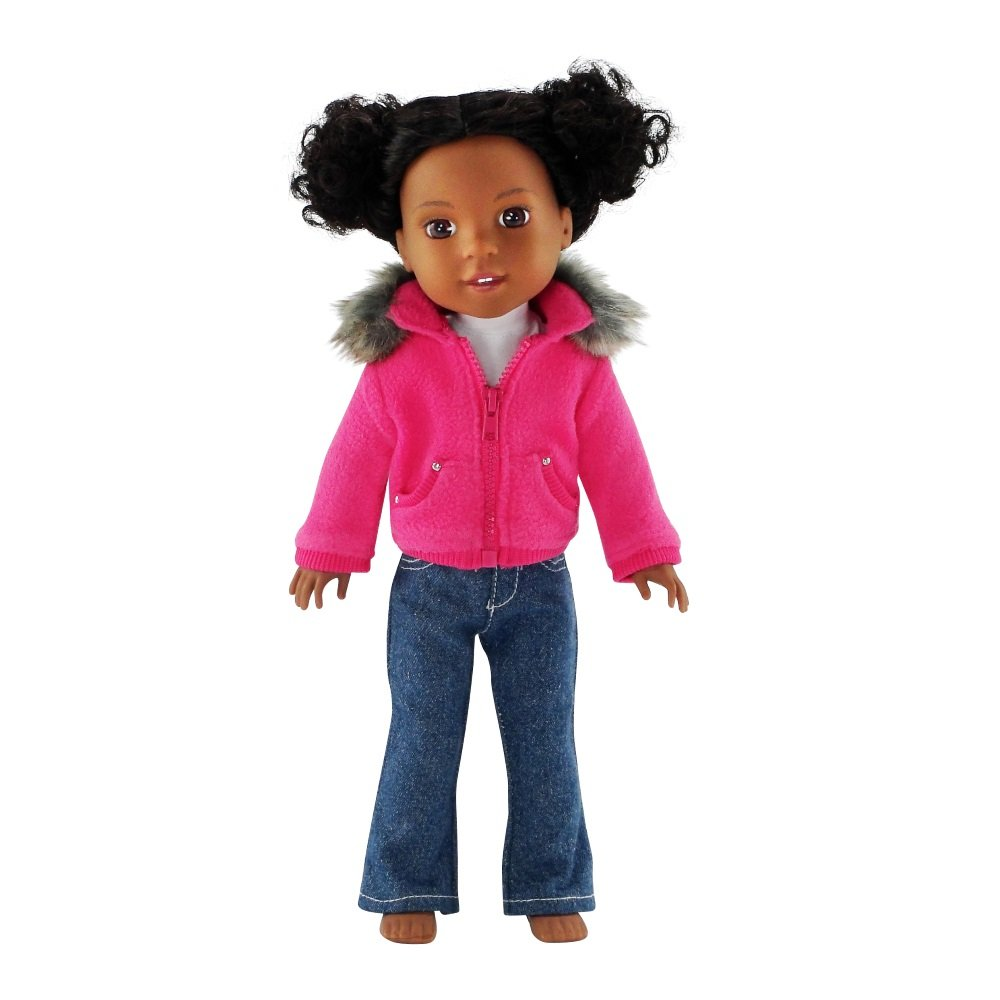 14 Inch Doll Clothes/Clothing | Faux Fur Collar Accessory Jacket Outfit with White T-Shirt and Blue Jeans | Fits American Girl Wellie Wishers Dolls Emily Rose Doll Clothes
