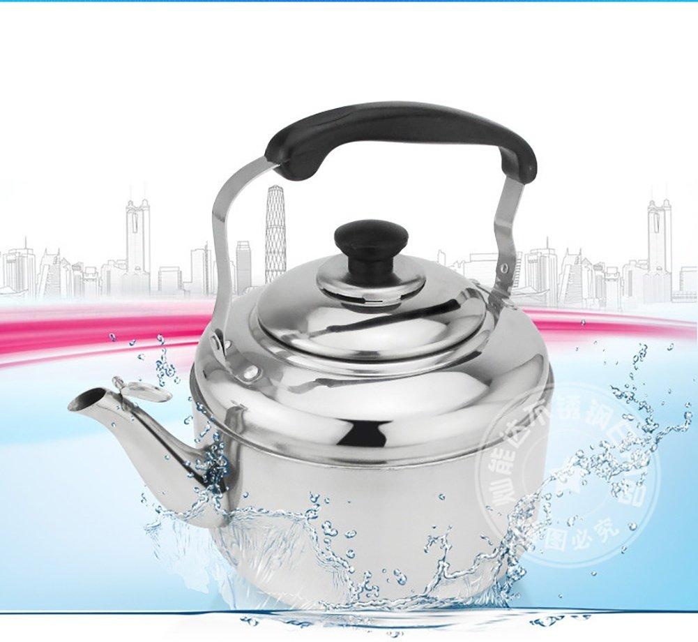 CDSS Acciaio Inossidabile Bollitore Bollitore Gas Fischio Grande capacit/à Gas Naturale Fornello a induzione Gas 4L5L6L Argento Silver 4L