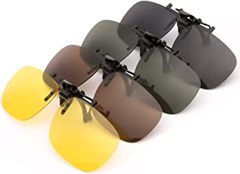 Punasi 4-Pack Polarized Clip-on Plastic Sunglasses Lenses for Outdoor