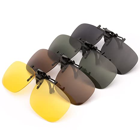 b9b1a47ca8 Punasi 4-Pack Polarized Clip-on Plastic Sunglasses Lenses for Outdoor  Walking Driving Fishing Cycling - (Night Vision Yellow + Grey + Dark Brown  + Dark ...