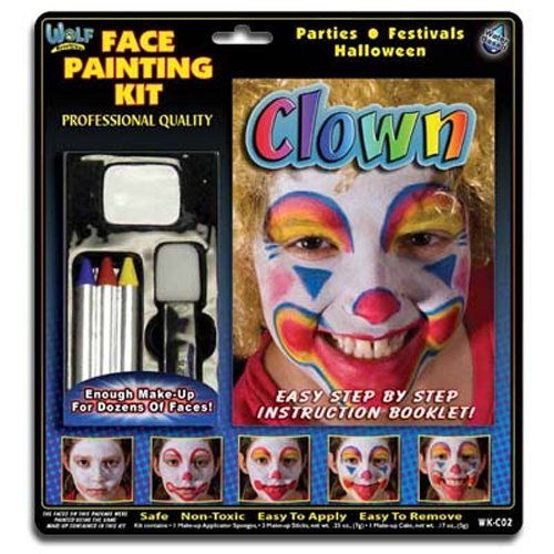 Wolfe FX Clown Face Painting Kit Professional Quality (Clown Halloween Makeup Girl)