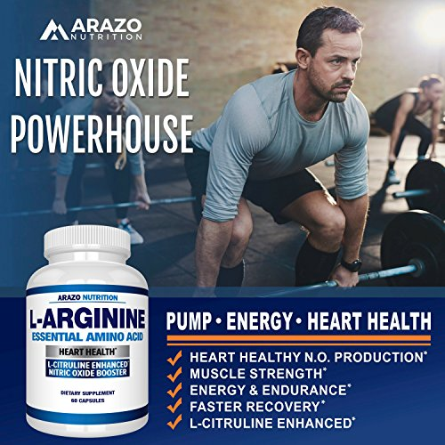 Premium L Arginine - 1340mg Nitric Oxide Booster with L-Citrulline & Essential Amino Acids for Heart and Muscle Gain | NO Boost Supplement for Endurance and Energy | 60 Capsules by Arazo Nutrition (Image #3)