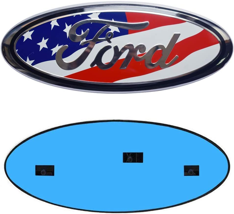 Ford Decorative Accessories 9inch Ford Emblem F150 Emblem Oval 9X3.5 Blue Ford Front Grille Tailgate Emblem Decal Badge Nameplate Fits for 04-14 F250 F350,11-14 Edge,11-16 Explorer,06-11 Ranger