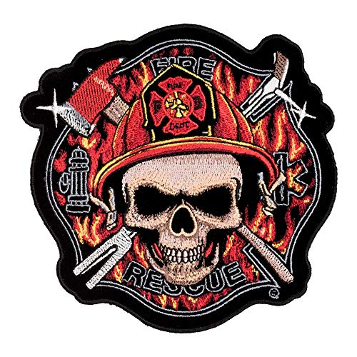 Fire Rescue Skull Maltese Cross Patch, Medium Size