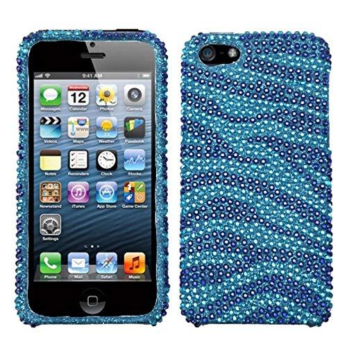 Zebra Full Rhinestones Snap - Insten Zebra Rhinestone Diamond Bling Hard Snap-in Case Cover Compatible with Apple iPhone 5/5S/SE, Blue
