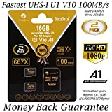 2-Pack 16GB 100MB s V10 A1 U1 Micro SD SDHC Card Plus Adapter (Class 10 UHS-I MicroSD HC Extreme Pro Memory) Amplim Best Ultra High Speed 32 GB UHS-1 TF MicroSDHC Flash for Cell Phone HD Video. 16G