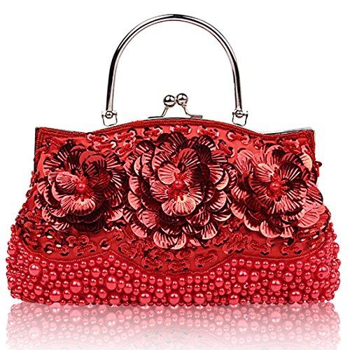 Sequin Flower Bags Bride Prom Handbags Wedding Crossbody Women Clutch Red Evening Bag Glass Beaded twpZqUU