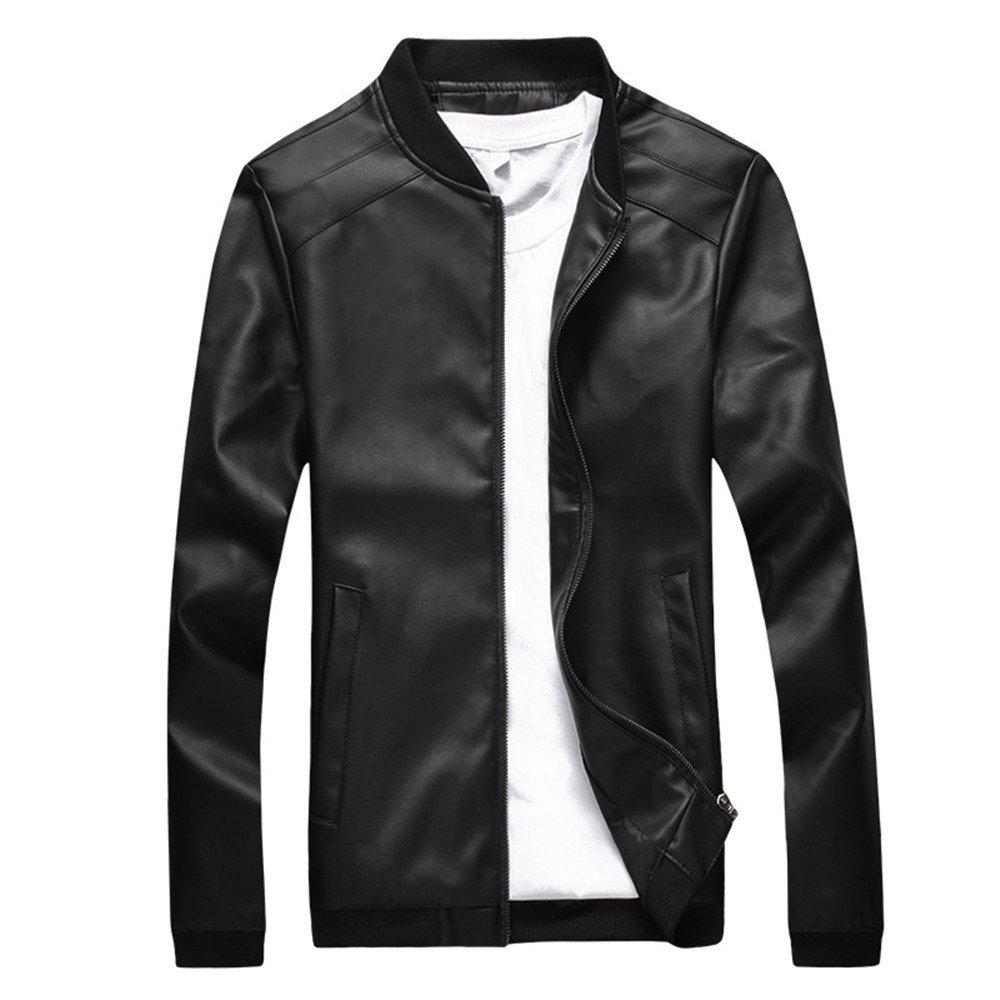fjubjv Mens fashion leather jacket winter leisure slim collar fashion all-match men size leather jacket,black,XL