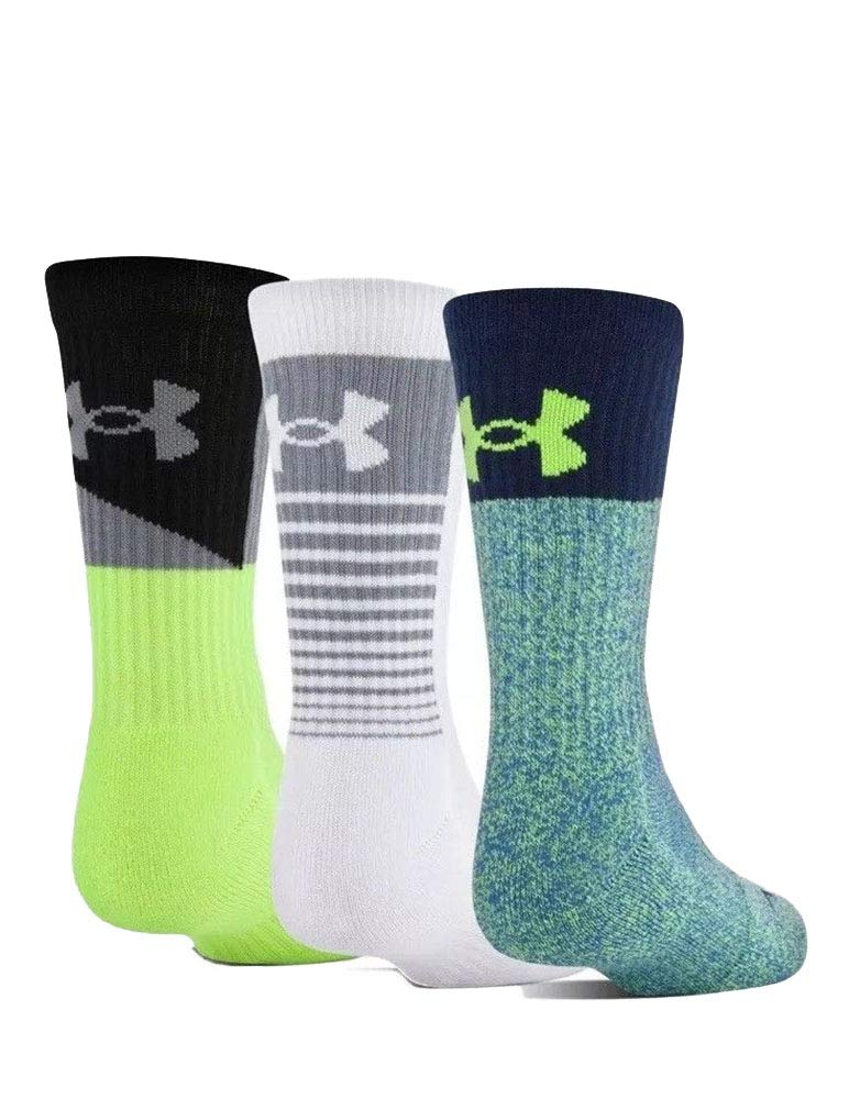 Under Armour Boy`s UA Phenom Crew Socks 3 Pack (Volt(U3361P3-966)/Black/Grey, Youth Small (Youth Shoe Size 13.5K - 4Y)) by Under Armour