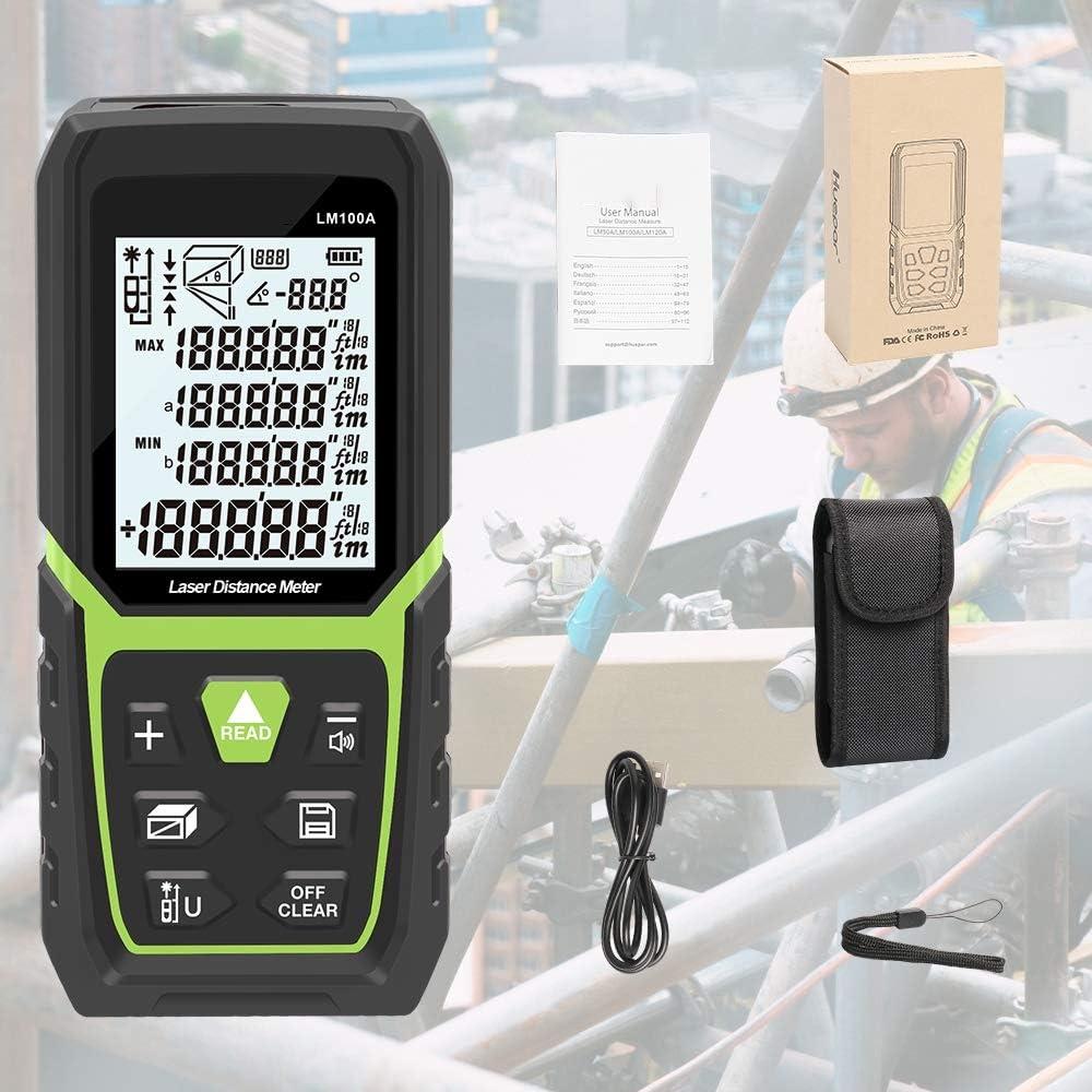 QWERTOUY Telémetro 330Ft / 100M (165Ft / 50M 390Ft / 120M) Medida LCD retroiluminada M/In/Ft con batería de Iones de Litio y Sensor de ángulo eléctrico,50m