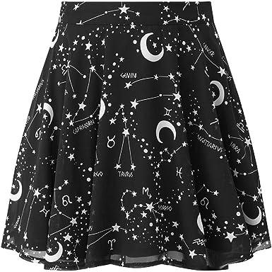 Qijinlook Falda Corta Gotica Mujer/Mini Falda Plisada Mágica Negra ...