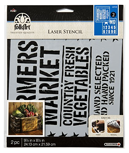 """FolkArt 32701E Vintage Crate, 9.5 x 8.5-Inch Coordinating Stencils (Pack of 2), 9.5"""" x 8.5"""""""