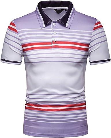 Ropa de Hombre Camisa de Moda Masculina de Manga Corta Tops de Rayas Casual para Hombre Camisas de Vestir Camisa Ajustada para Hombre: Amazon.es: Ropa y accesorios