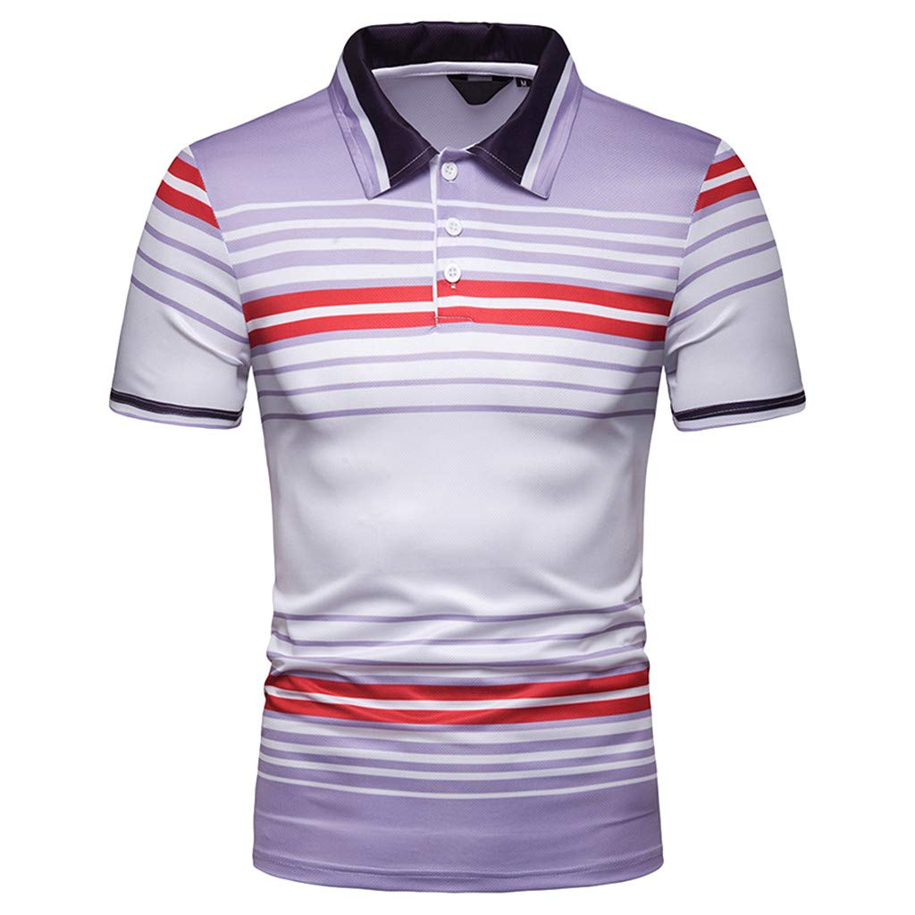 ADESHOP Men/'s Casual Striped Short Sleeve Top Large Size Blouse Shirts