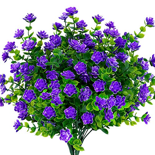 KLEMOO Artificial Flowers Fake Outdoor UV Resistant Boxwood Plants Shrubs 4 Pack, Faux Plastic Greenery for Indoor Outside Hanging Planter Home Office Wedding Farmhouse Decor (Purple)