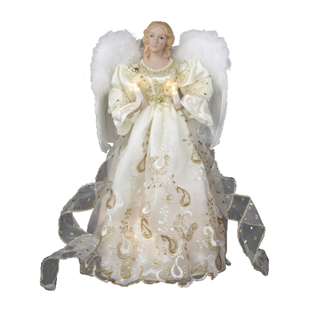 Amazon Com Kurt Adler UL 10 Light 14 Inch Gold Angel Treetop  - Christmas Tree Angel Toppers