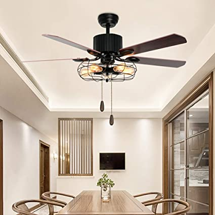 Classical Led Ceiling Fan With Light For Living Room Bedroom Dining Room Lighting And Fan Wind Three Leaves Led Fans Light Reliable Performance Lights & Lighting Ceiling Fans