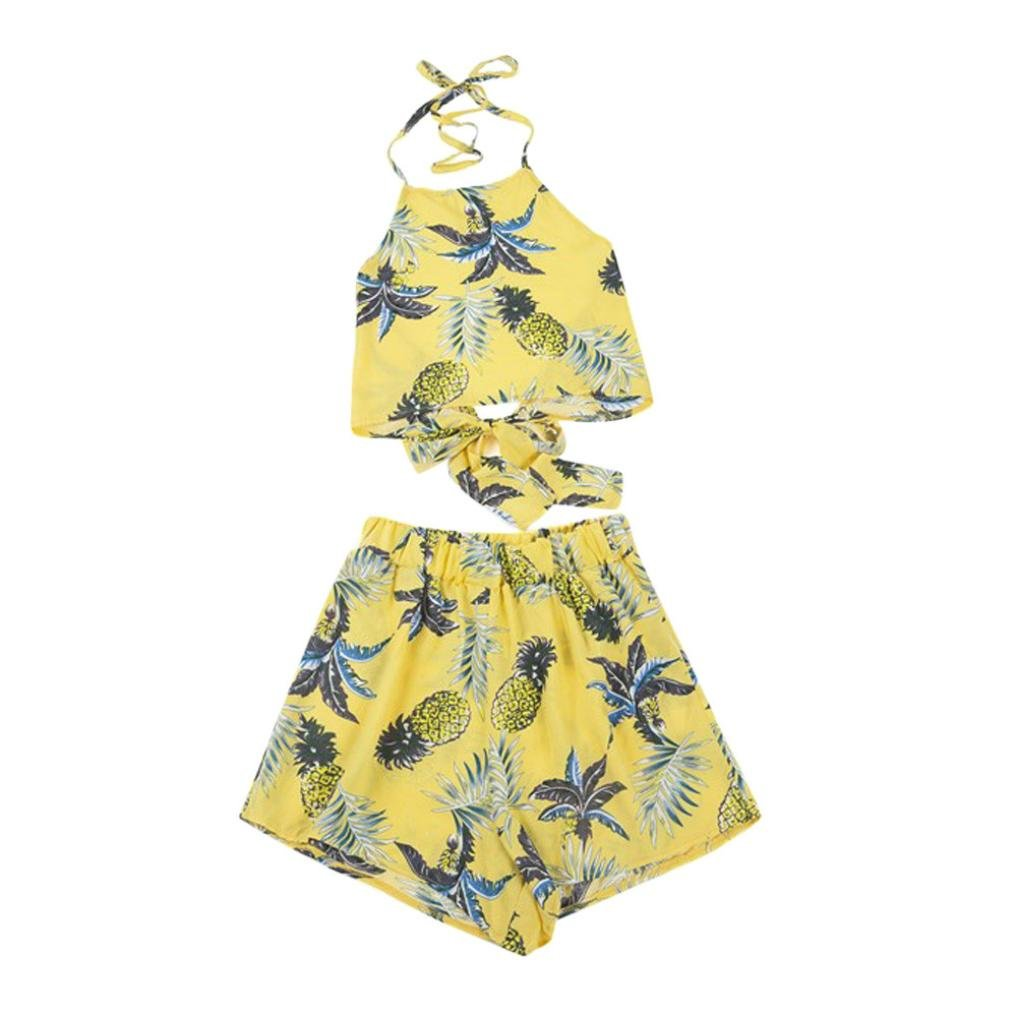Women Blouse+ Short,Sexy Pineappple Print Cami Bandage Tank Strappy T-Shirt Axchongery (Yellow, S)