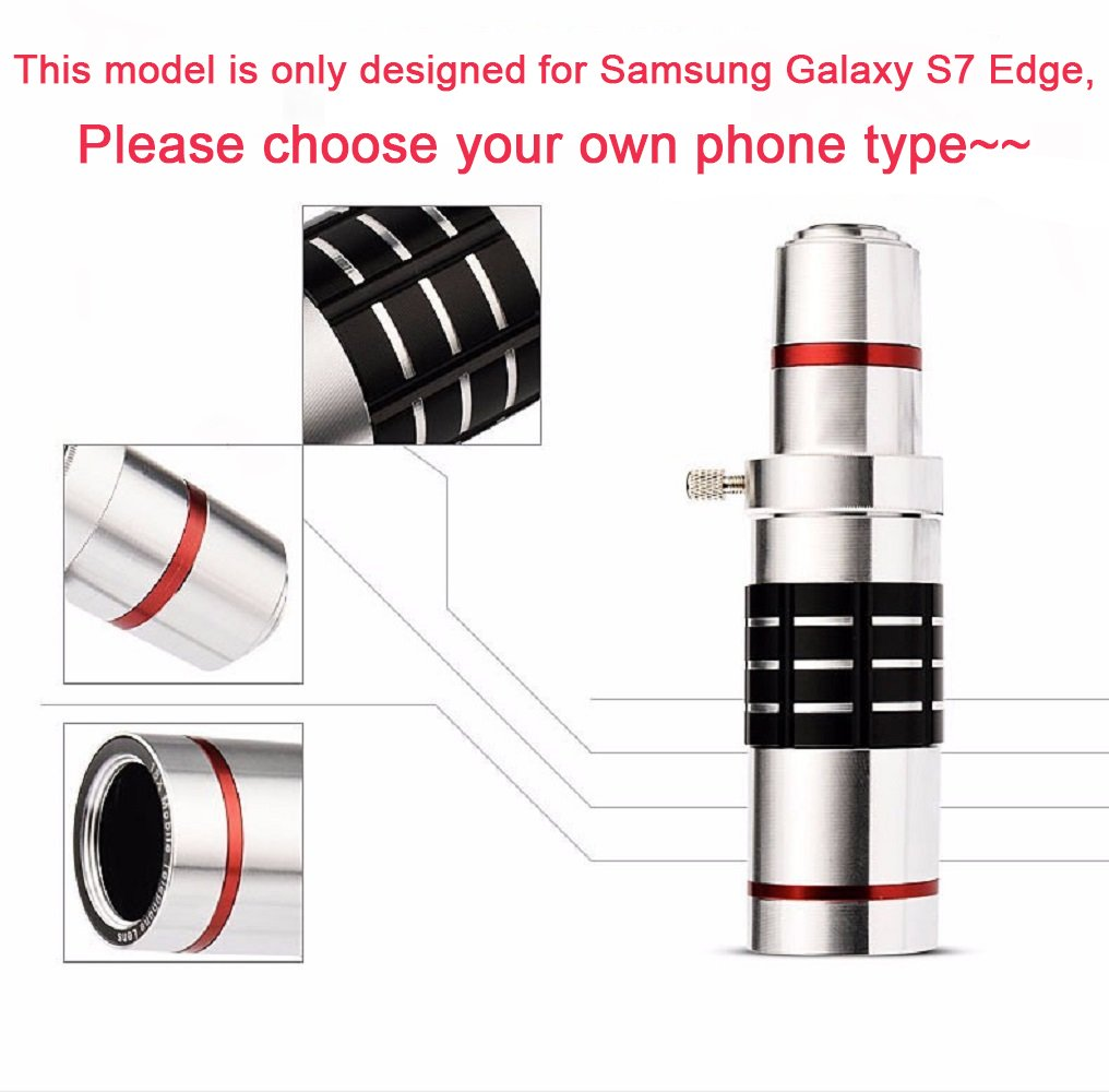 Youniker Optical Camera Lens Kit for Samsung Galaxy S7 Edge,18x Manual Focus Telephoto Lens for Samsung S7 Edge,Including 18x Aluminum Zoom Telescope Camera Lens With Tripod + Samsung S7 Edge Case by Youniker (Image #2)