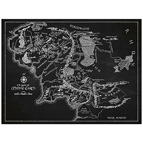 """Inked and Screened SP_SYFI CH_24_W Sci-Fi and Fantasy Middle Earth Map Print, Chalkboard-White Ink, 18"""" x 24"""","""