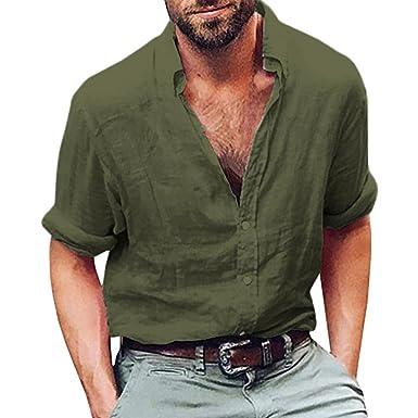 d8a8547cecc vermers Mens Tops Mens Long Sleeve Henley Shirt Cotton Linen Beach Yoga  Loose Fit Blouse(