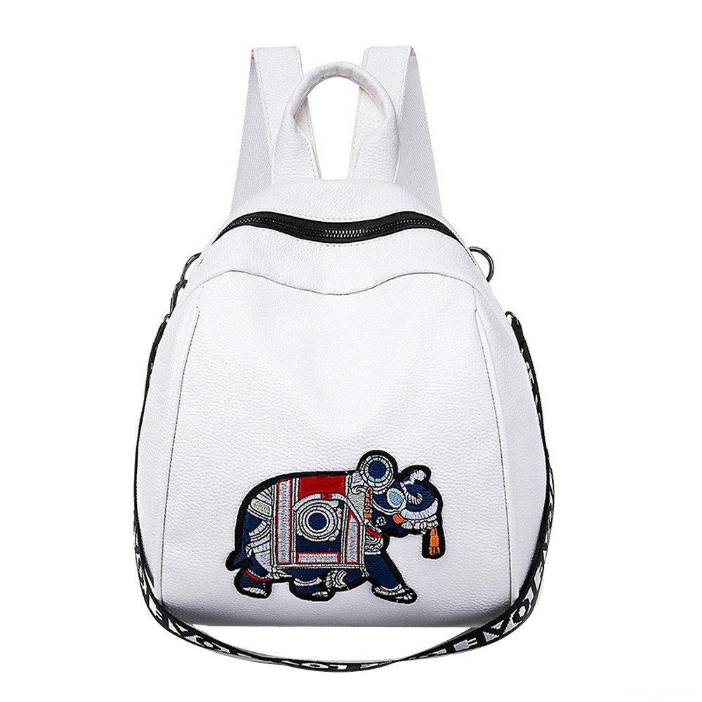 Aobiny Backpack Leisure Soft Leather Travel Backpack Shoulder Bag For Students (White)