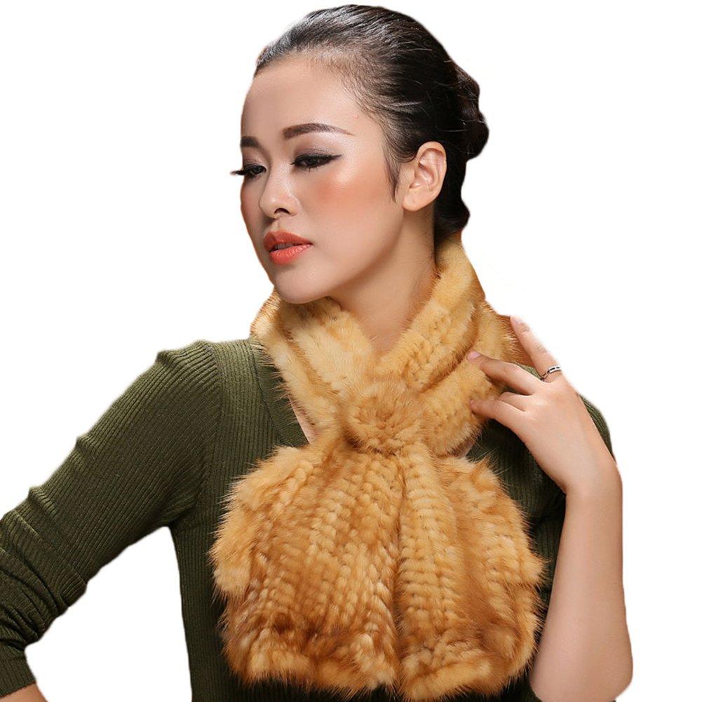 MINGXINTECH womens mink fur knit falbala style scarf warm winter neck shawl stole