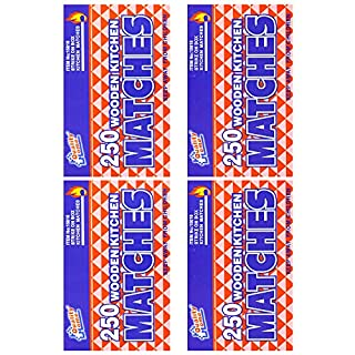 Wooden Kitchen Matches with Strike On Box - for Candles, Kitchen - 250 Per Pack (4)