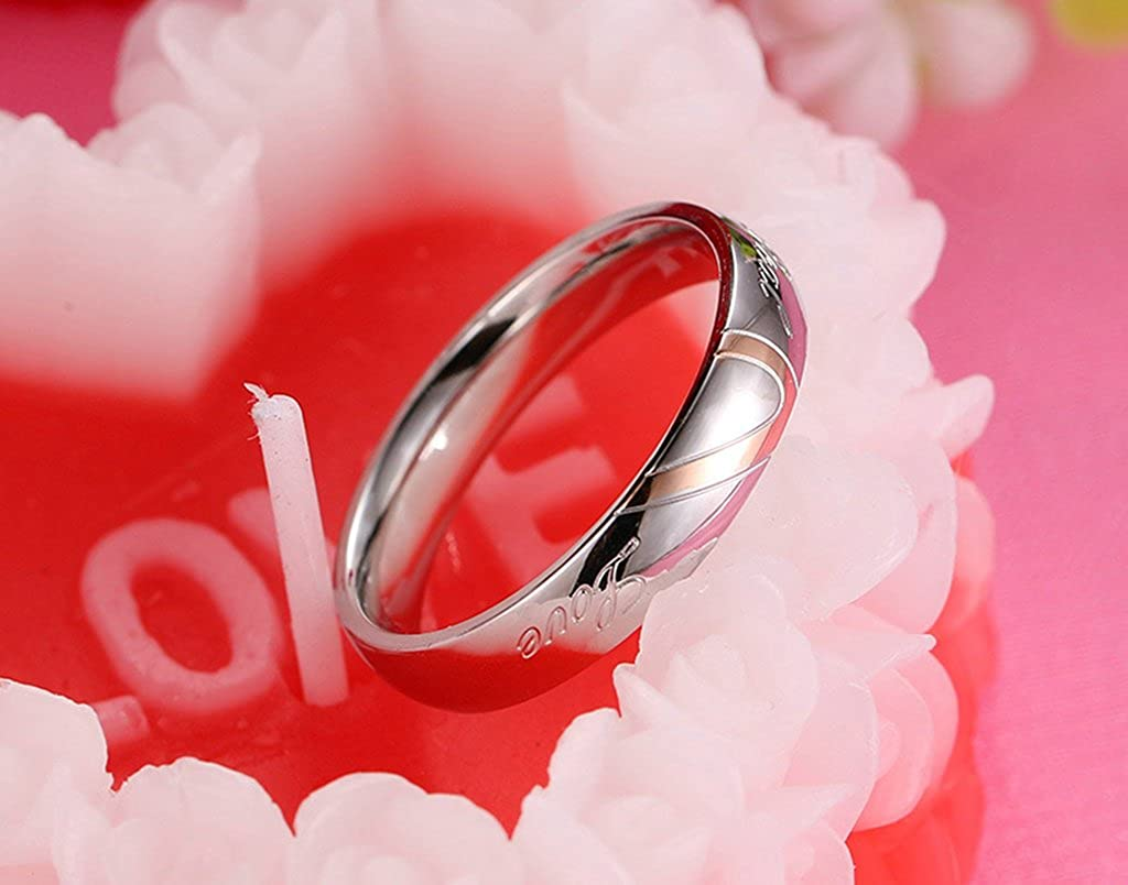 Aooaz Free Engraving Couples Ring Stainless Steel Ring Puzzle Heart ...