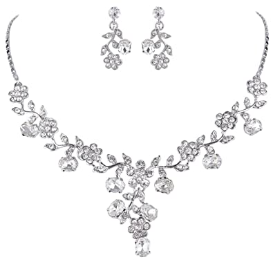 EVER FAITH Wedding Leaf Vine Necklace Earrings Set Clear Austrian Crystal e6Si1