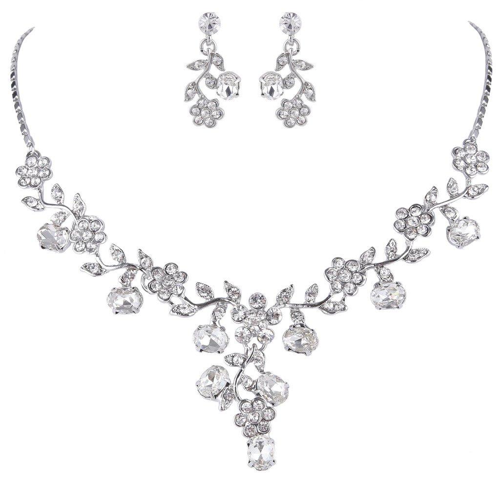 EVER FAITH Wedding Flower Leaf Necklace Earrings Set Austrian Crystal Silver-Tone - Clear