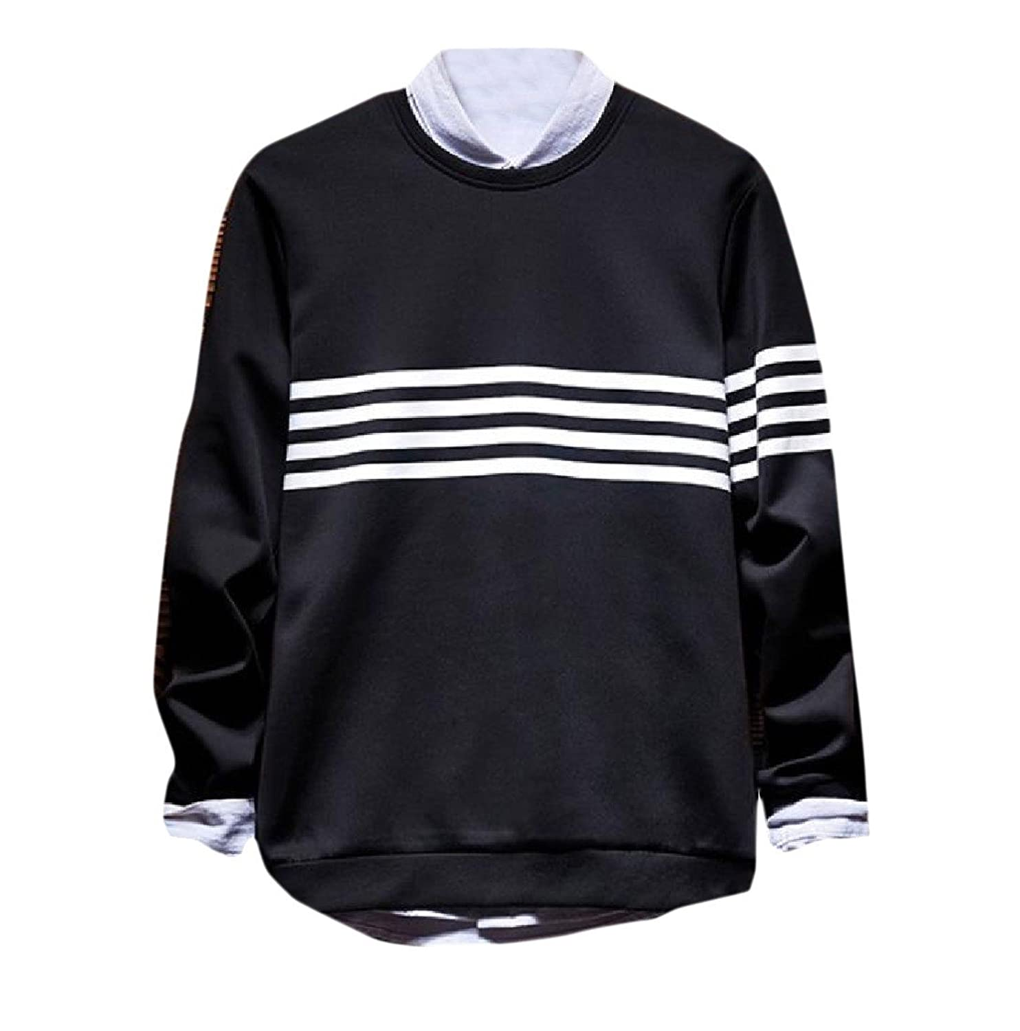 Discount Comfy Mens Individuality O-Neck Striped Long-Sleeve Thin Tracksuit for sale