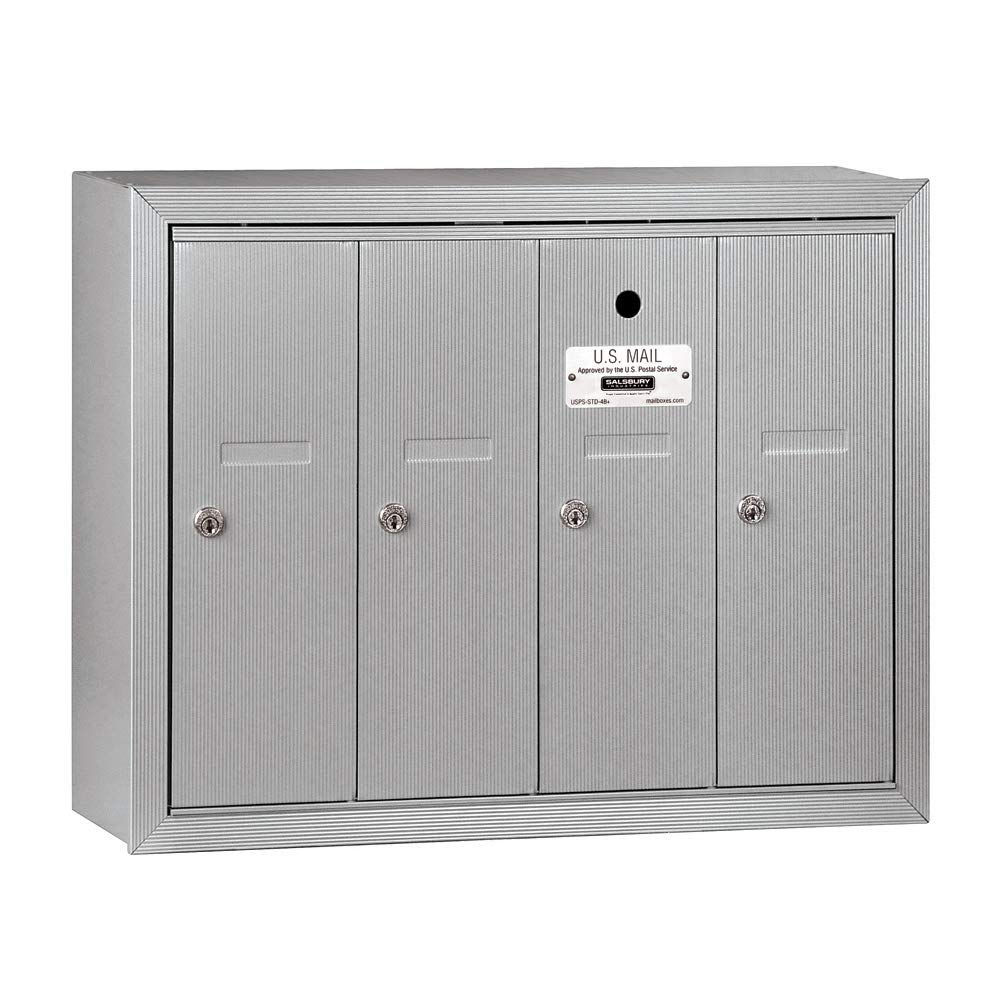 10. Salsbury Industries 3504ASU Surface Mounted Vertical Mailbox with 4 Doors and USPS Access