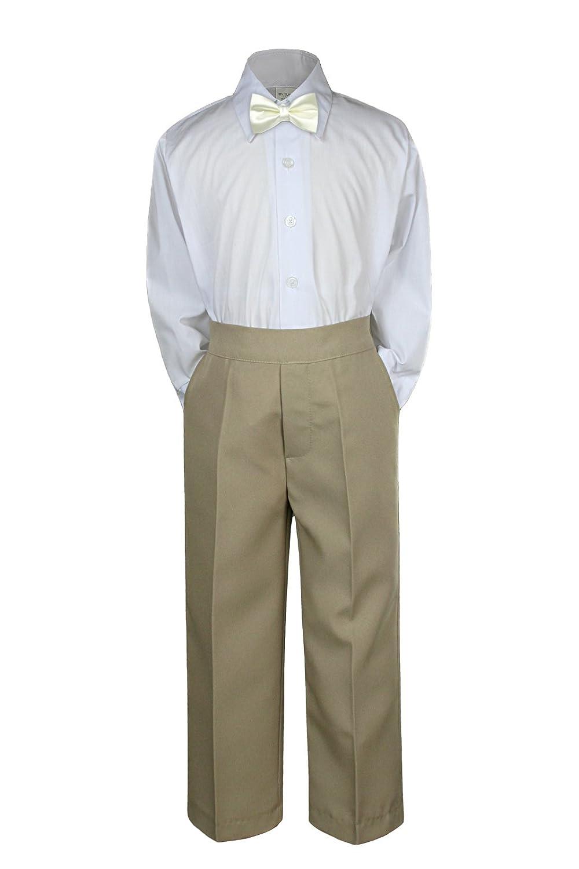 3pc Baby Toddler Kid Boy Wedding Formal Suit KHAKI Pants Shirt Bow Tie Set Sm-4T