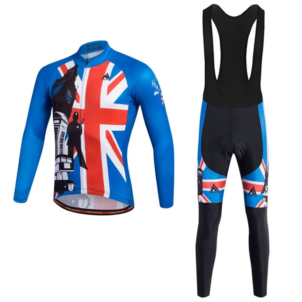 England Style Chest 45.6''=Tag XXL Uriah Men's Cycling Jersey Bib Pants Black Sets Long Sleeve Reflective
