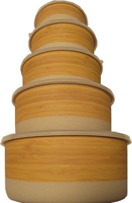 FIBERBAMBOO Conjunto Tupper bambú ecológico Set 5 tuper renueva ...
