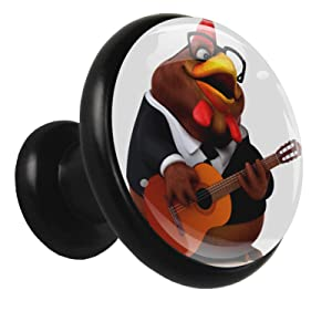 Dresser Drawers knob Black Rooster Guitar Furniture Knobs Funky Cabinet Knobs Holder for Laundry Room Set of 4 1.26x1.18x0.66in