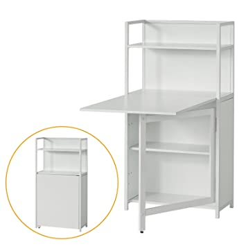 folding office desk. sobuy fwt12w white home office 4 tiers bookcase storage shelves with folding desk s