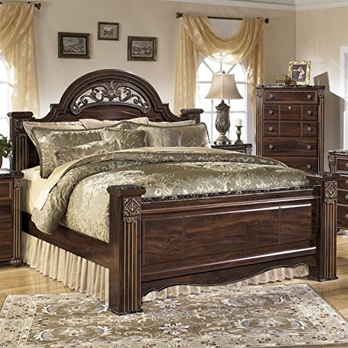 Traditional Wood Finish Poster Bed - Ashley Gabriela Wood King Poster Panel Bed in Brown