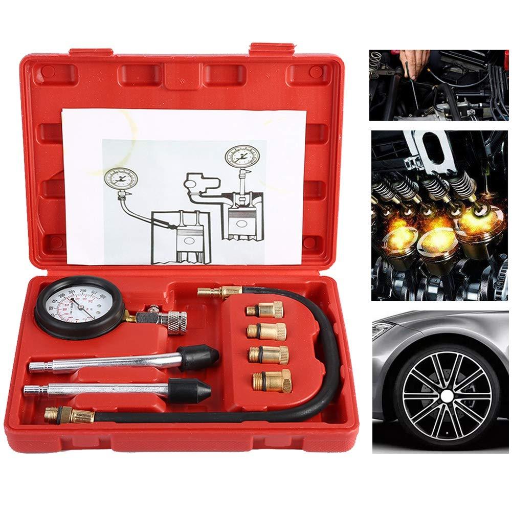 Duokon Juego de herramientas de diagn/óstico de fugas del kit del medidor del probador de compresi/ón de la presi/ón del cilindro del motor del motor de gasolina automotriz con 4 adaptadores de buj/ía