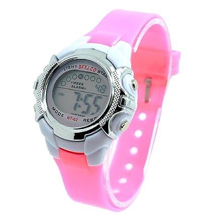 Tongshi Reloj ligero Niño Niña Fecha Alarma Digital multifunción Deporte LED (Rosa)