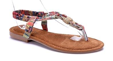 Schuhtempel24 Damen Schuhe Zehentrenner Sandalen Sandaletten Blau Flach 04QR3MJ