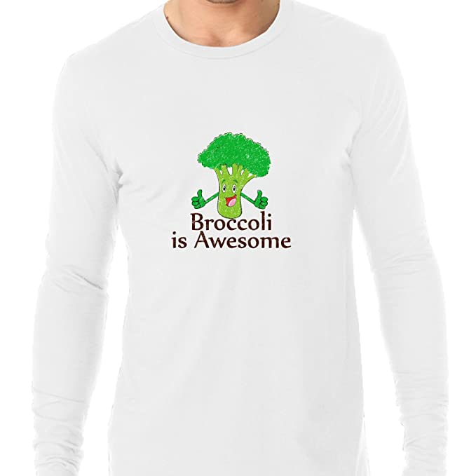 6f679d9f Amazon.com: Broccoli Is Awesome! - Thumbs Up Smiling Vegetable Men's Long  Sleeve T-Shirt: Clothing
