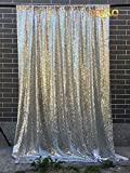 LQIAO 4FTX10FT Silver Shimmer Sequin Fabric Backdrops Wedding Photo Booth,Sequin Curtains,Drapes,Sequin Panels Photography Background Decoration