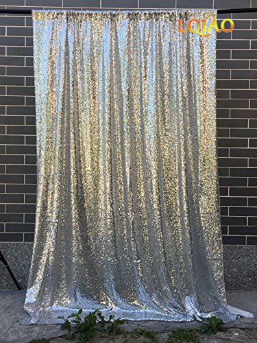 LQIAO 4FTX10FT Silver Shimmer Sequin Fabric Backdrops Wedding Photo Booth,Sequin Curtains,Drapes,Sequin Panels Photography Background Decoration by LQIAO
