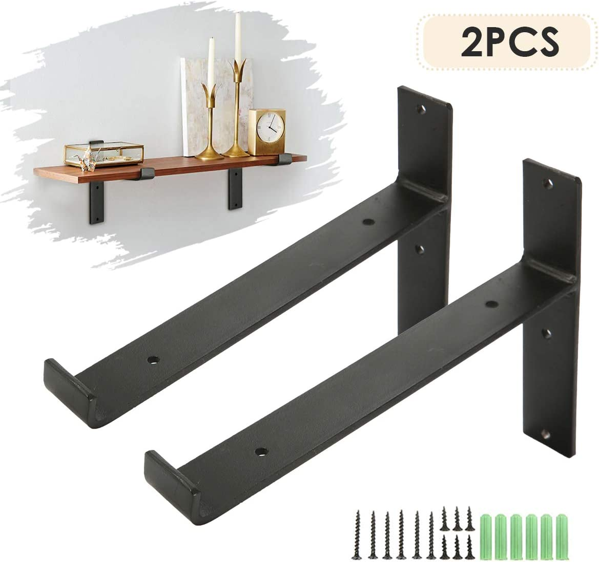 king do way Soportes de Metal, Soporte de la Pared Industrial para Estante Flotante Baldas Flotantes Negro 2 pz (T LIP)