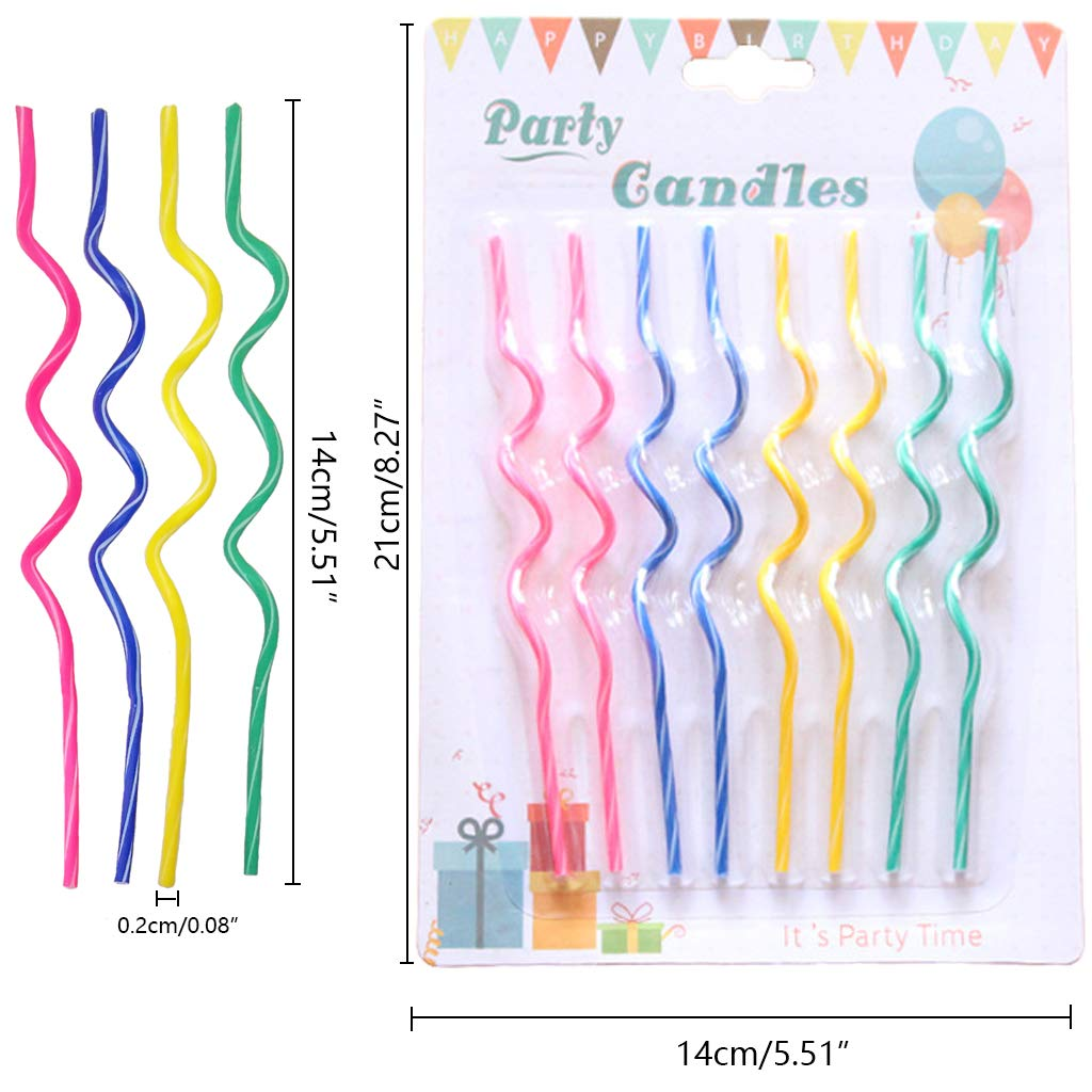GKanMore 24 Count Spiral Party Candles Creative Long Curved Thread Cake Candle for Party Wedding Birthday Cake Decoration