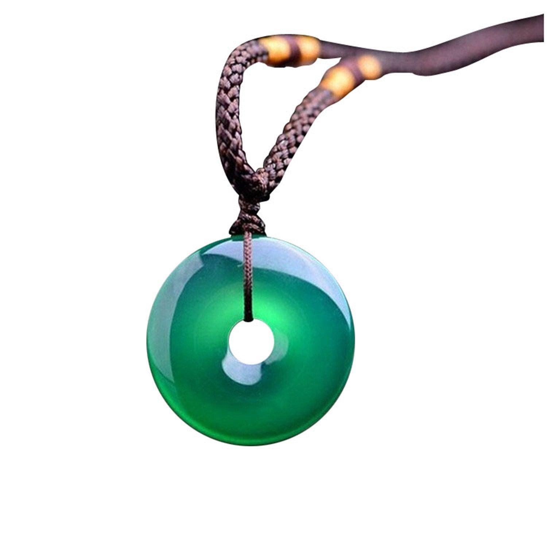 Collar con colgante jade natural verde botón de la paz ágata para
