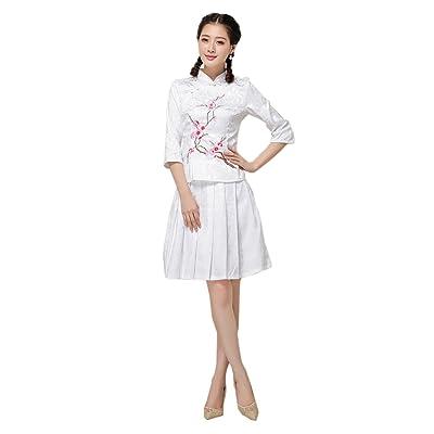 ACVIP Femme 2PC Veste de Tang avec Manche 3/4 Imprimé Fleur et Jupe Plissés